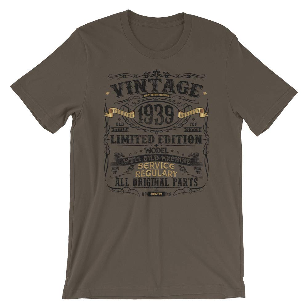 Classic 80th Birthday Gift T-Shirt for Men and Women Vintage Retro 1939