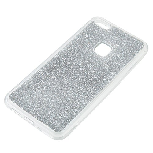 Hülle für Huawei P10 Lite ,TPU Silikon Backcover Case Handy Schutzhülle für Huawei P10 Lite, Cozy Hut® Huawei P10 Lite Hülle Handyhülle, Glitzer Slim Soft-Case Back-Cover Schutzhülle, Handy-Tasche im  Silber