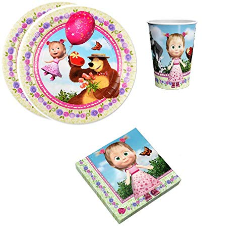 Masha Bear Birthday Party Supplies Set Plates Napkins Cups Kit for 12 (Strawberry mood) by Unknown