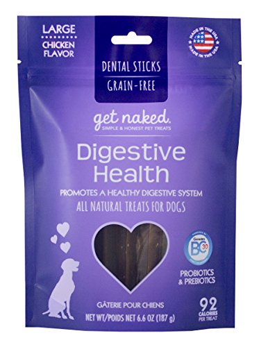 Get Naked Grain Free 1 Pouch 6.6 oz Digestive Health Dental Chew Sticks, Large Health Chews