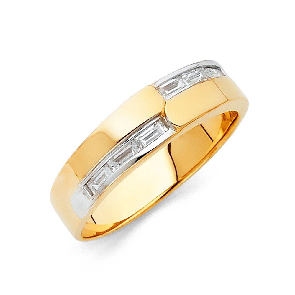 Sonia Jewels 14k Yellow Gold Ring Baguette Cubic Zirconia CZ Mens Anniversary Wedding Band