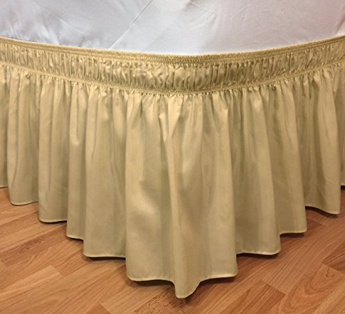 Elastic Ruffle Bed Skirt Easy Warp Around King Queen Size