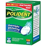 Polident Overnight Whitening, Antibacterial Denture Cleanser, Triple Mint Freshness 120 ea (Pack of 2)