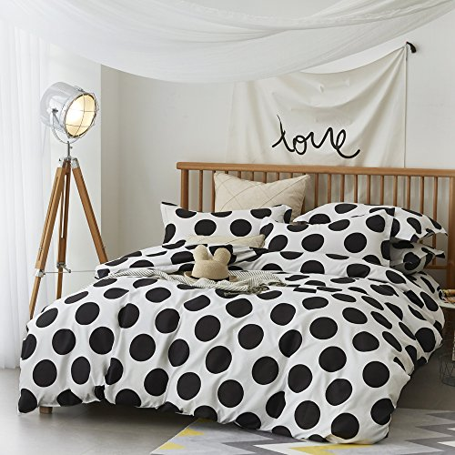 ZHIMIAN Microfiber Modern 3 Piece Reversible Duvet Cover Sets Black and White Contrast -1 Duvet Cover + 2 Pillow Shams(King Polka Dots)