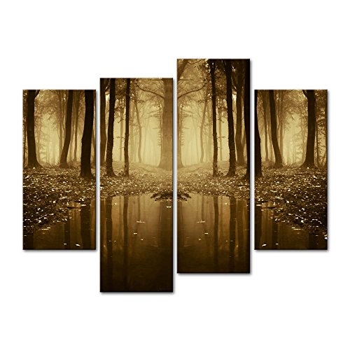4 Pieces Modern Canvas Painting Wall Art The Picture For Home Decoration Fairytale Lake In A Strange Forest In Autumn With Fog And Light Landscape Forest Print On Canvas Giclee Artwork For Wall Decor (4 Piece Wall Art)