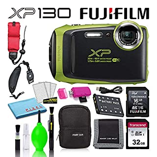 Fujifilm FinePix XP130 Waterproof Digital Camera (Lime) Accessory Bundle with 32GB SD Card + 16GB SD Card + Camera Case + Floating Wrist Strap + Deluxe Cleaning Kit + More