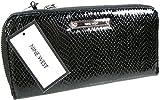 New Nine West Logo Large Zip Around Wallet Purse Hand Bag Black Patent Snake
