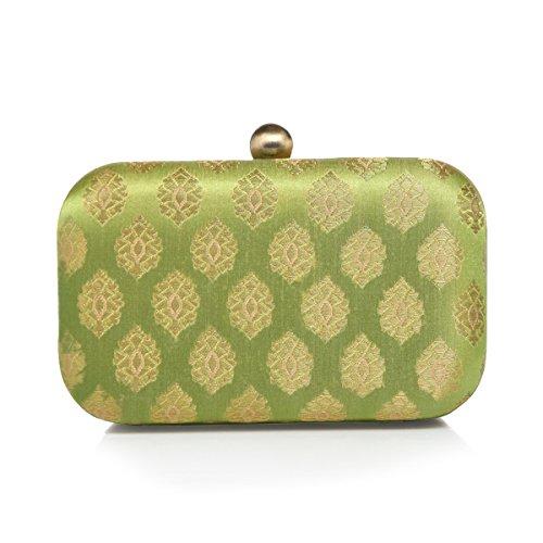 Lined Silk Clutch - MONOKROME NEW YORK Hemlock stylish Evening Hard case silk jacquard ethnic party clutch (green)