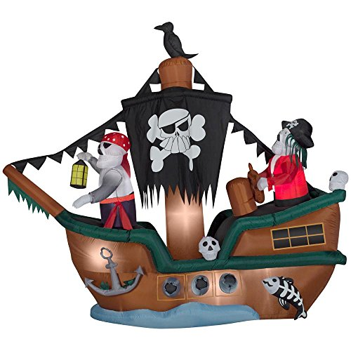Blow Up Halloween Pirate Ship (Gemmy 61509 Skeleton Pirate Ship Animated)