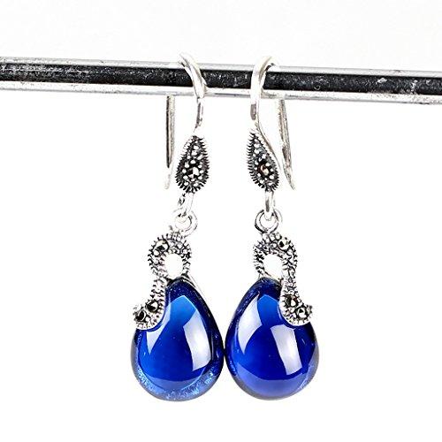 PRX 925 Silver Topaz Earrings Synthetic Sapphire Tremella Hanging agate Ear Drops Long Fashion Earrings (Color : Blue) (Topaz Chalcedony Earrings Blue)