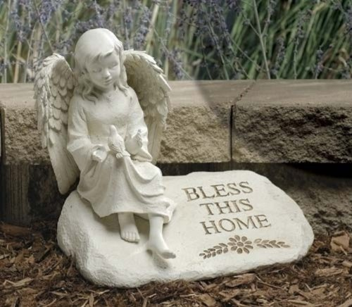 Joseph Studio 48849 Angel on Stone Figure with Verse Bless This Home, 9.5-Inch