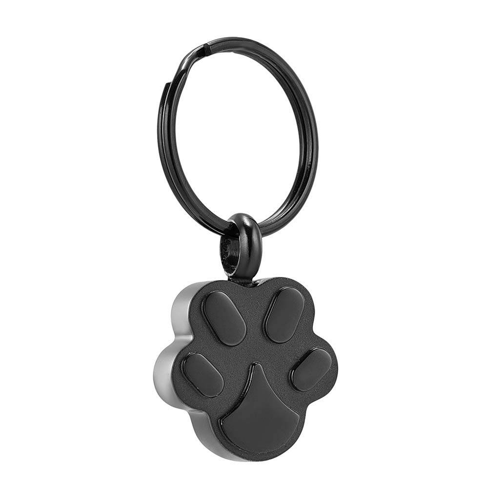 wonderful jewerly Pet Dog Cat Paw Urn Pendant Keychain Stainless Steel Cremation Jewelry Ashes Holder Memorial Keepsake Keyring Unseix (Black)