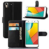 """For Huawei Y6/Huawei Y6+ Case , ivencase Fashion Litchi Texture Magnetic Closure Wallet Stand PU Leather Card Slot Flip Cover Slim Fit Huawei Honor 4A Black + One """"ivencase"""" Anti-dust Plug Stopper"""