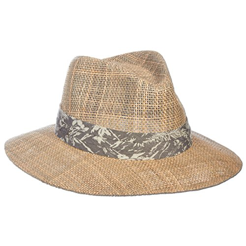 (Panama Jack Dos Sombras Matte Seagrass Straw Safari Sun Hat with 3-Pleat Ribbon Band (Tropical Light Brown Ribbon, Small/Medium))