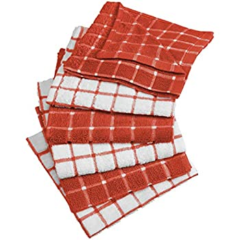 DII Cotton Terry Windowpane Dish Cloths Machine Washable, Absorbant and Multi-Use, 12x12, Spice