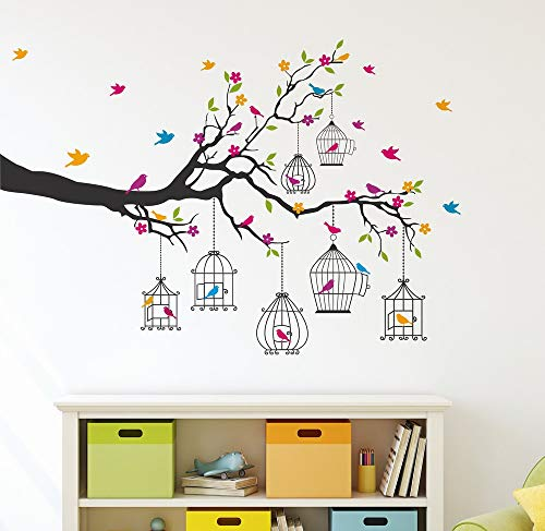 Amazon Brand – Solimo Wall Sticker for Living Room (Birdie House, Ideal Size on Wall – 133 cm x 90 cm)