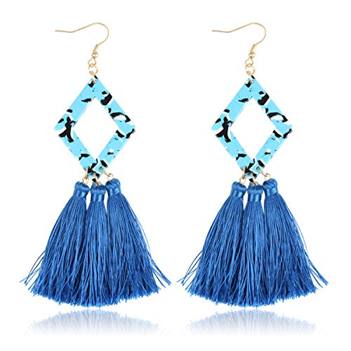 Antique Bohemian Silky Thread Fan Tassel Statement Drop - Vintage Gold Feather Shape Strand Fringe Lightweight Hook/Acetate Dangles Earrings/Long Chain Necklace (Diamond Acetate Tassel - Blue)