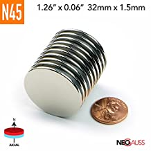 "10pcs N45 - 32mmx1.5mm 1.26"" x 1/16"" Strong Neodymium Magnets Discs DIY - by NEOGAUSS"