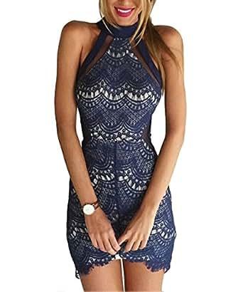 Elegant Vestido Vintage IHRKleid® Mini Vestido de Cóctel de Encaje Hueco de Punta Damas (S, Azul)