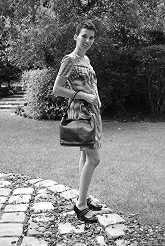 Bolso de mano de cuero - Modelo KUTA - llevado al hombro - 26 x 24 x 14 cm ROUGE FONCE