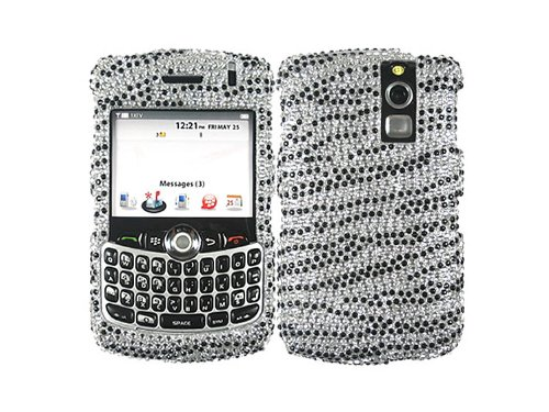 White Black Rhinestone Faceplate Diamond Crystal Hard Skin Case Cover Zebra Silver for Blackberry Curve 8300 8310 8320 8330