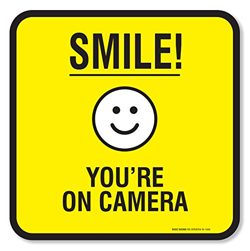 (4 Pack) Smile You're on Camera Sign Self Adhesive