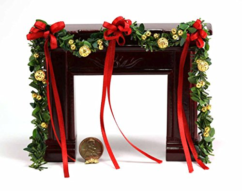 Dollhouse Miniature 1:12 Scale Artisan Red Ribbon Fireplace Garland with Gold Beads