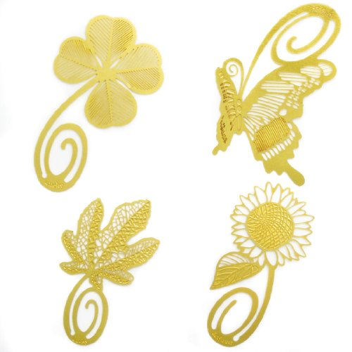 kilofly Ultra Thin Metal Bookmark Value Pack [Set of 4] - Clover, Butterfly, Sunflower, Maple Leaf