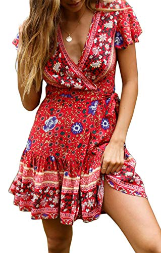 Mini Dress for Women Short Boho Floral Print Retro Wrap V Neck Ruffle Hem Flare A Line Dresses for Ladies Red S Butterfly Print V-neck Dress