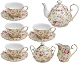 Gracie China by Coastline Imports Cream Cottage Rose Chintz 11-Piece Tea Set