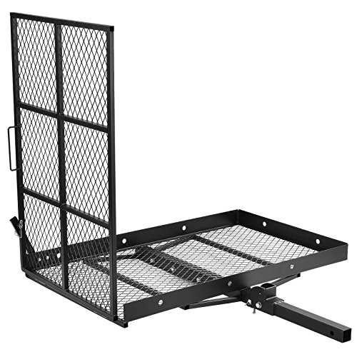 SUNCOO Mobility Scooter Foldable Wheelchair Carrier Disability Medical Cargo Rack with Loading Ramp Hitch Mount,Heavy Duty Steel 400 lb. Capacity 48' L X 28' W X 42.25' H