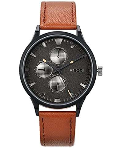 WUTAN Watches for Men Casual with Black Decorative Dials Brown Leather Strap Fashion Business watch (Classy Sports Watch)