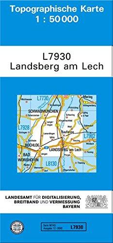 TK50 L7930 Landsberg Am Lech  Topographische Karte 1 50000  TK50 Topographische Karte 1 50000 Bayern