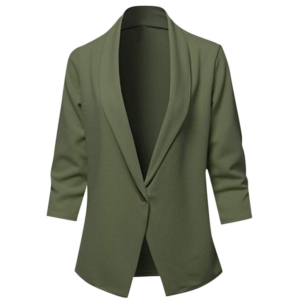 Gleamfut Ladies Work Office Blazer Casual Long Sleeve Pure Color Suit Jacket Tops Coat Army Green by Gleamfut