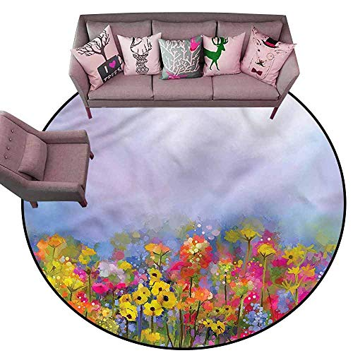 Floor Mat Kitchen Long Carpet Flower,Blossoming Tulips in Garden Diameter 78