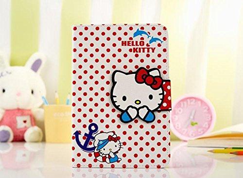 ix-Color Hello Kitty Design Premium Flip Stand PU Leather Hard Case for Apple iPad Mini 1/2/3 + Free Screen Protector (#2) ()