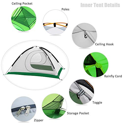 Geertop 2-Person 4-Season Backpacking Tent for Camping Hiking Travel Climbing – Easy Set Up