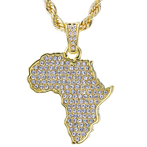 metaltree98 Men's 14 K Gold Plated Hip Hop Iced Out Yellow Gold Tone African Map Pendant and Rope Chain 24