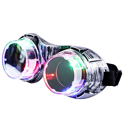 DAXIN DX LED Retro Goggles Light Up Party Favors Glasses Flashing Windproof Glasses Toys 3 Lights 4 Modes for Men Women Kids, Best Wedding Costume Birthday Gifts (Scientist Glasses)