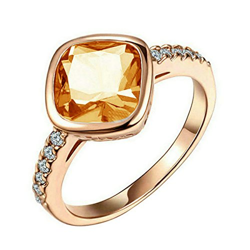 Yoursfs Amber Ring Champagne Crystal Yellow Topaz Rings Women Citrine Ring for Mother Fashion Jewellery Amber Crystal Ring