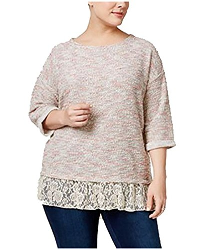 Style & Co . 3/4 Sleeve Cardigan - Style & Co. Womens Plus Lace Trim 3/4 Sleeves Pullover Sweater Pink 3X