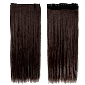 Akashkrishna™ Straight Synthetic Hair Extensions For Women And Girls, Dark Brown, Pack Of 1