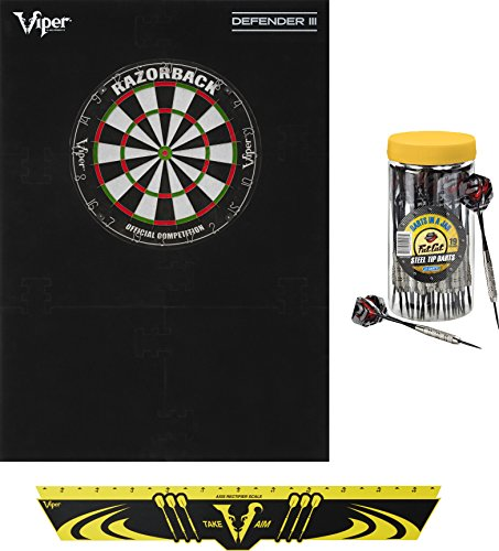 Viper Defender III Backboard & Sisal/Bristle Steel Tip Dartboard Bundle: Elite Set (Razorback Dartboard,Defender III Backboard, Edge Throw Line, 21pc Jar of Darts) ()