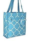 Ever Moda Quatrefoil Tote Bag (Teal Blue)