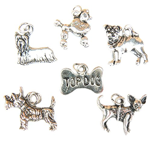 Dog Breeds Charms - Silver Plated - Set of 6