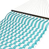 Best Choice Products Plush Quilted Double Hammock w/Spreader Bars - Teal/White