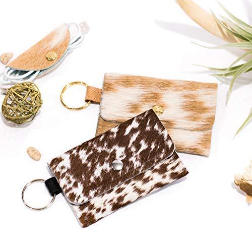 Embossed Leather Card Holder Debit Card Holder Metallic Cowhide Wristlet Wallet Leather Key Chain HOH Card Keeper
