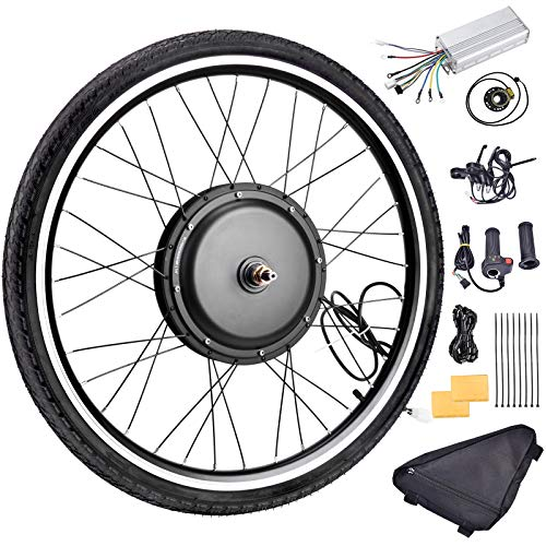 Fineshine 26″ Front/Rear Wheel Electric Bicycle Wheel Kit 48V 1000W E-Bike Conversion Kit, Cycling Hub Motor with Intelligent Controller and PAS System for Road Bike