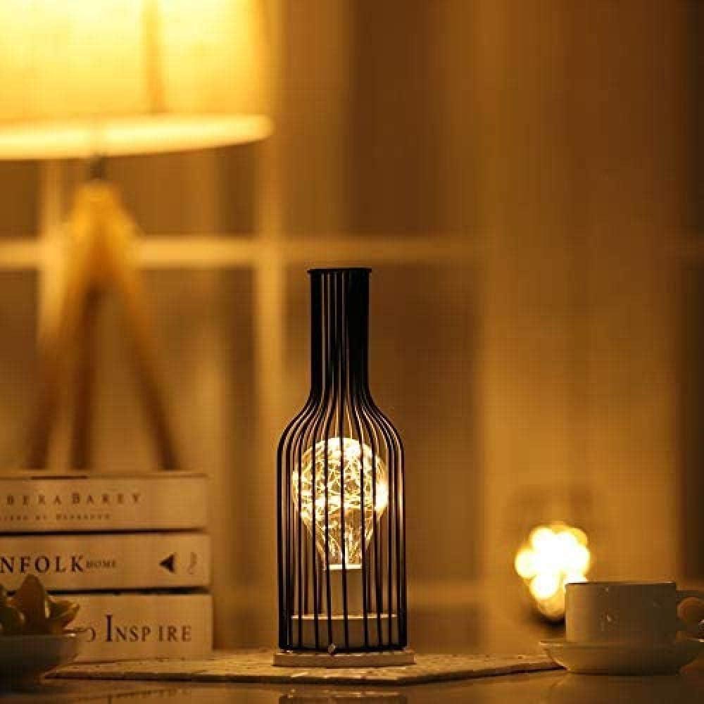 Luz de noche hueca de hierro, lámpara de mesa antigua, pantalla de jaula de canasta de alambre de hierro industrial retro negro, el mejor regalo de es