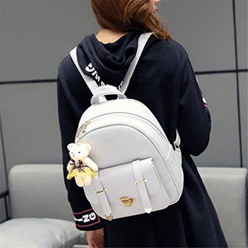 3Pcs Pu 01 School 02 Bag Backpack Women Leather rq7gnRrPH